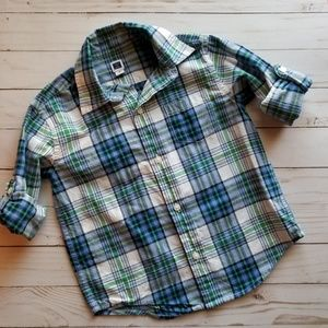 Janie and Jack Plaid Button Down Shirt Size 3T